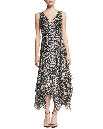 Sleeveless Printed Silk-Blend Handkerchief Dress