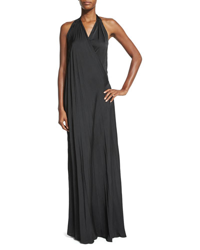 Harley Vintage-Satin Maxi Halter Dress, Black