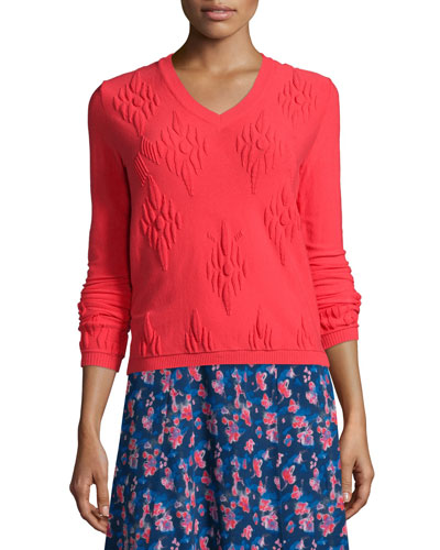 Sarah Jacquard Pullover Sweater, Hot Pink