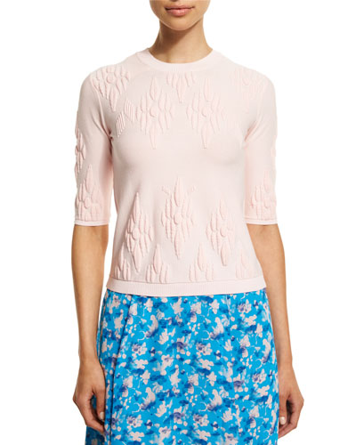 Robin Jacquard Pullover Sweater, Light Pink