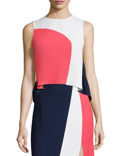 Caro Sleeveless Crepe Colorblock Top, Navy/Pink/White