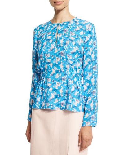 Heather Floral Silk Top, Cornflower