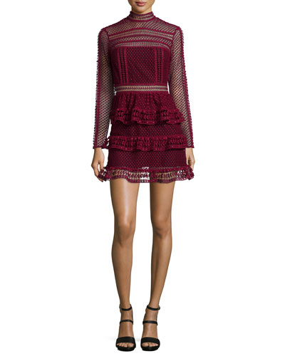 Long-Sleeve Tiered Lace Dress, Dark Maroon