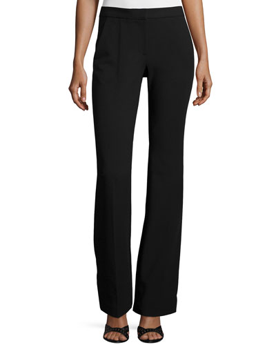 Slim-Fit Boot-Cut Pants, Black