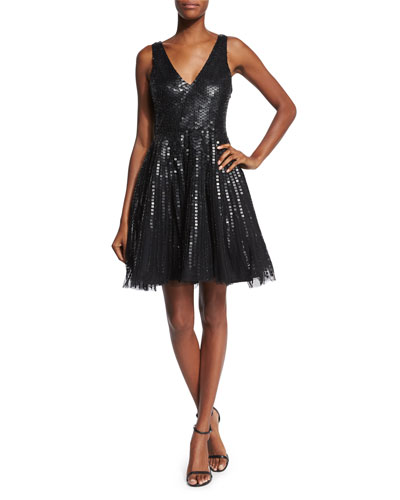 Theater Sleeveless Sequined Fit & Flare Dress