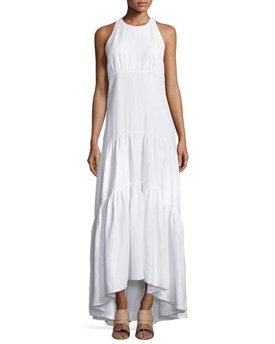 Talia Woven Racerback Maxi Dress, White