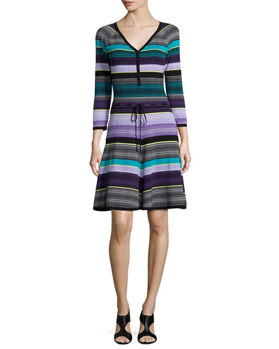 Carrigan Striped Fit-and-Flare Dress, Lavender