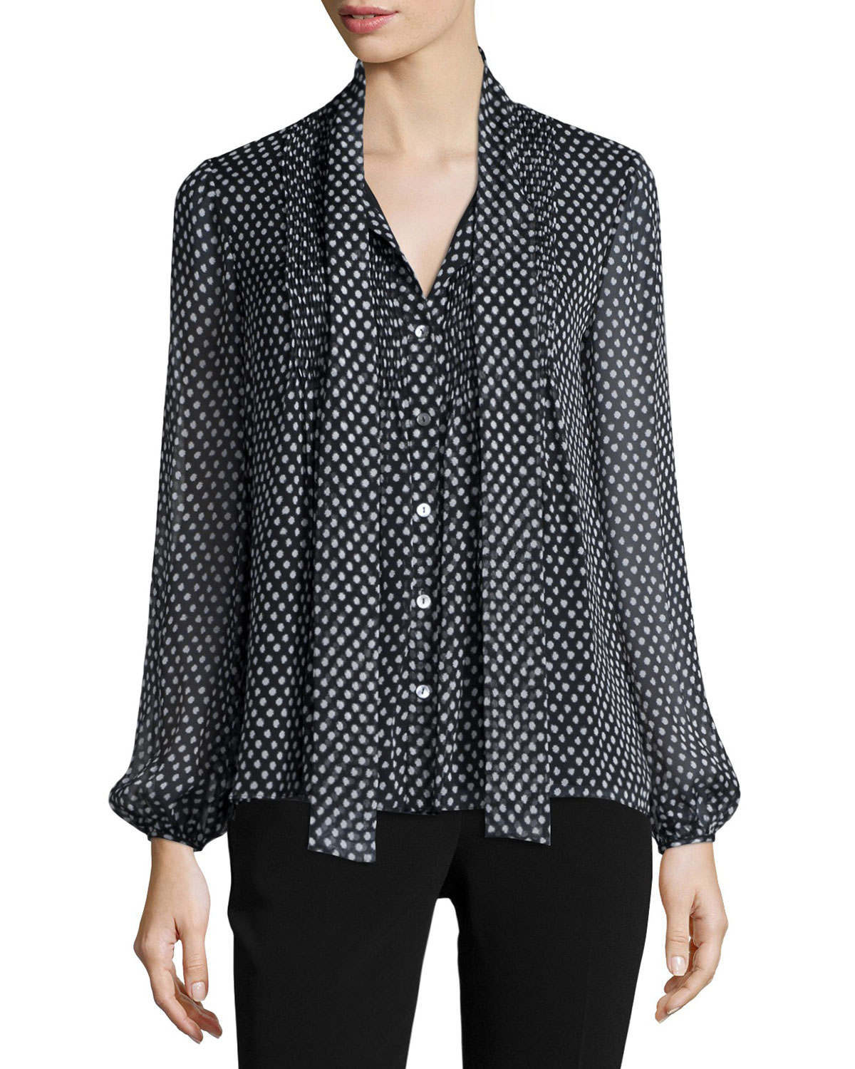 Marjorie Dotted Batik Silk Top, Black