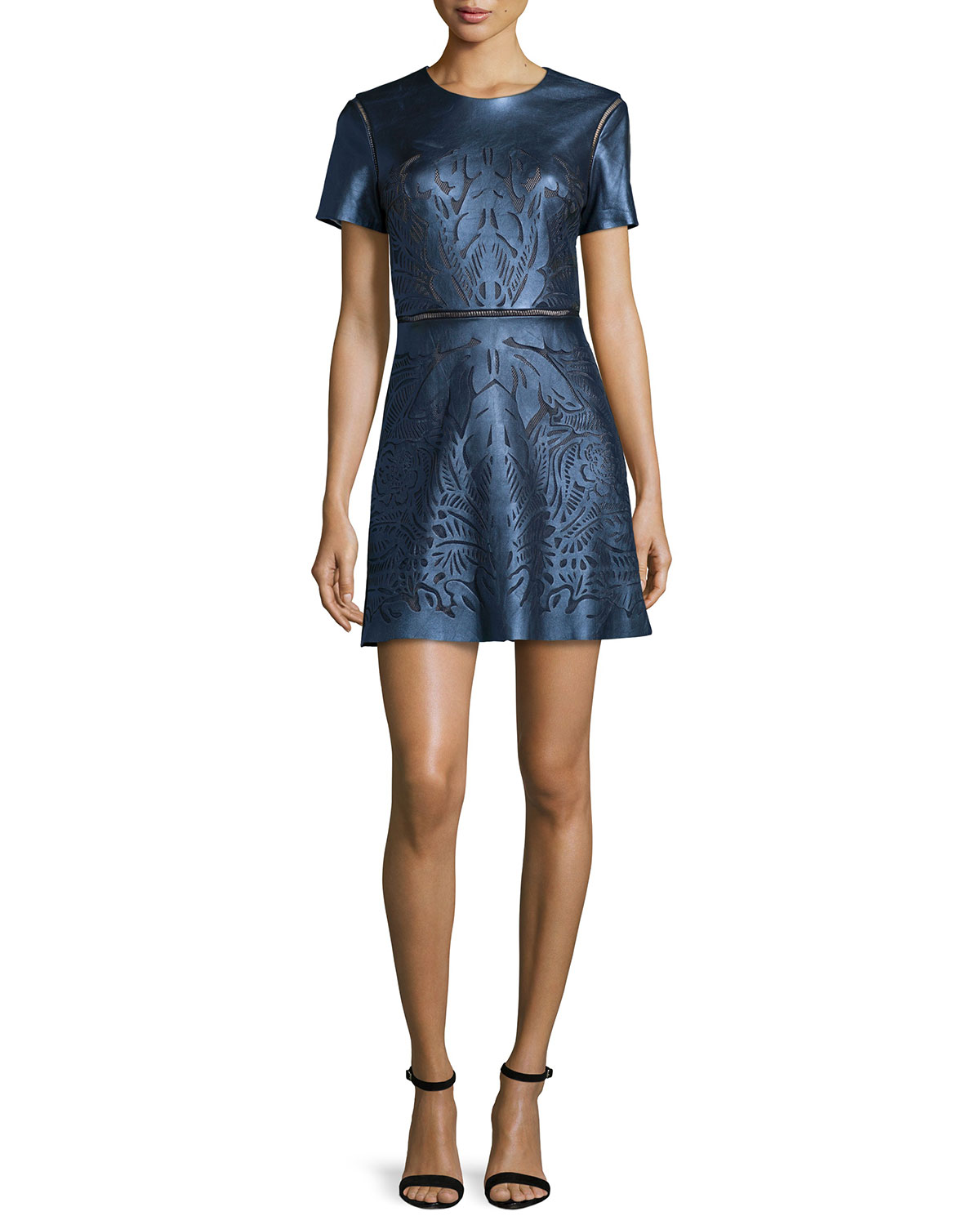 Short-Sleeve Leather-Front Cocktail Dress, Metallic Navy