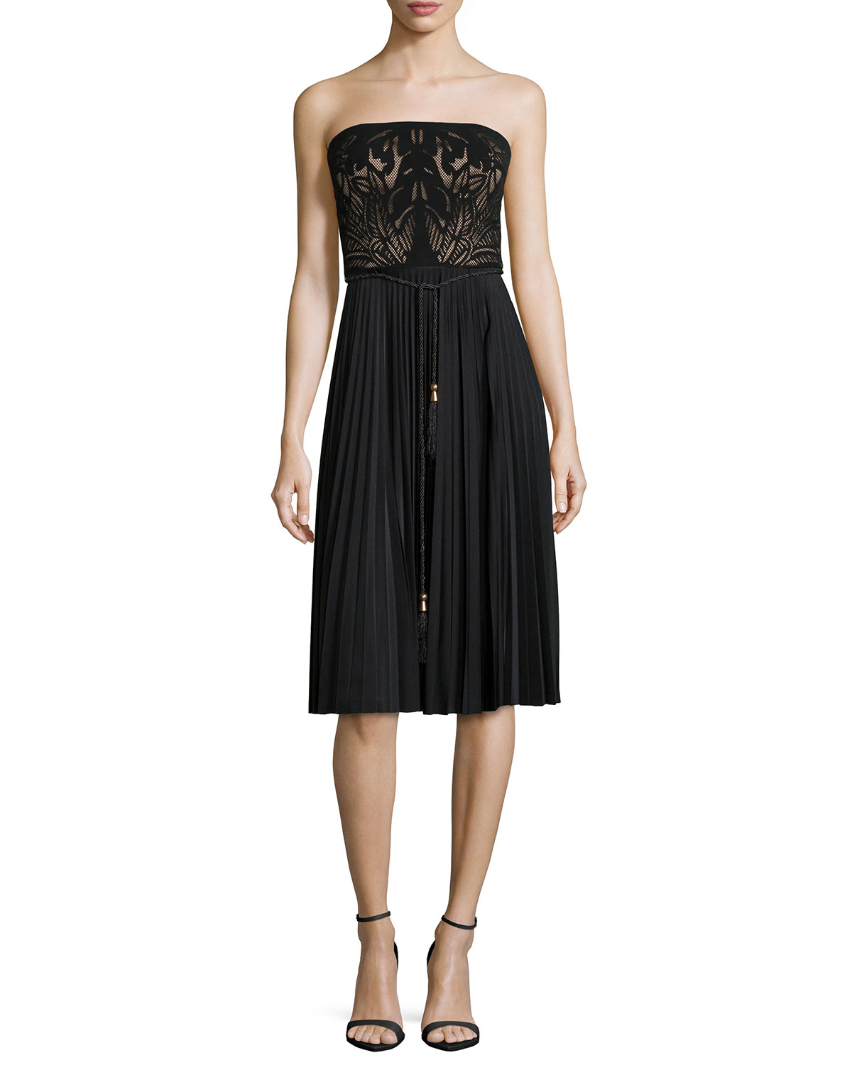 Strapless Combo Belted Cocktail Dress