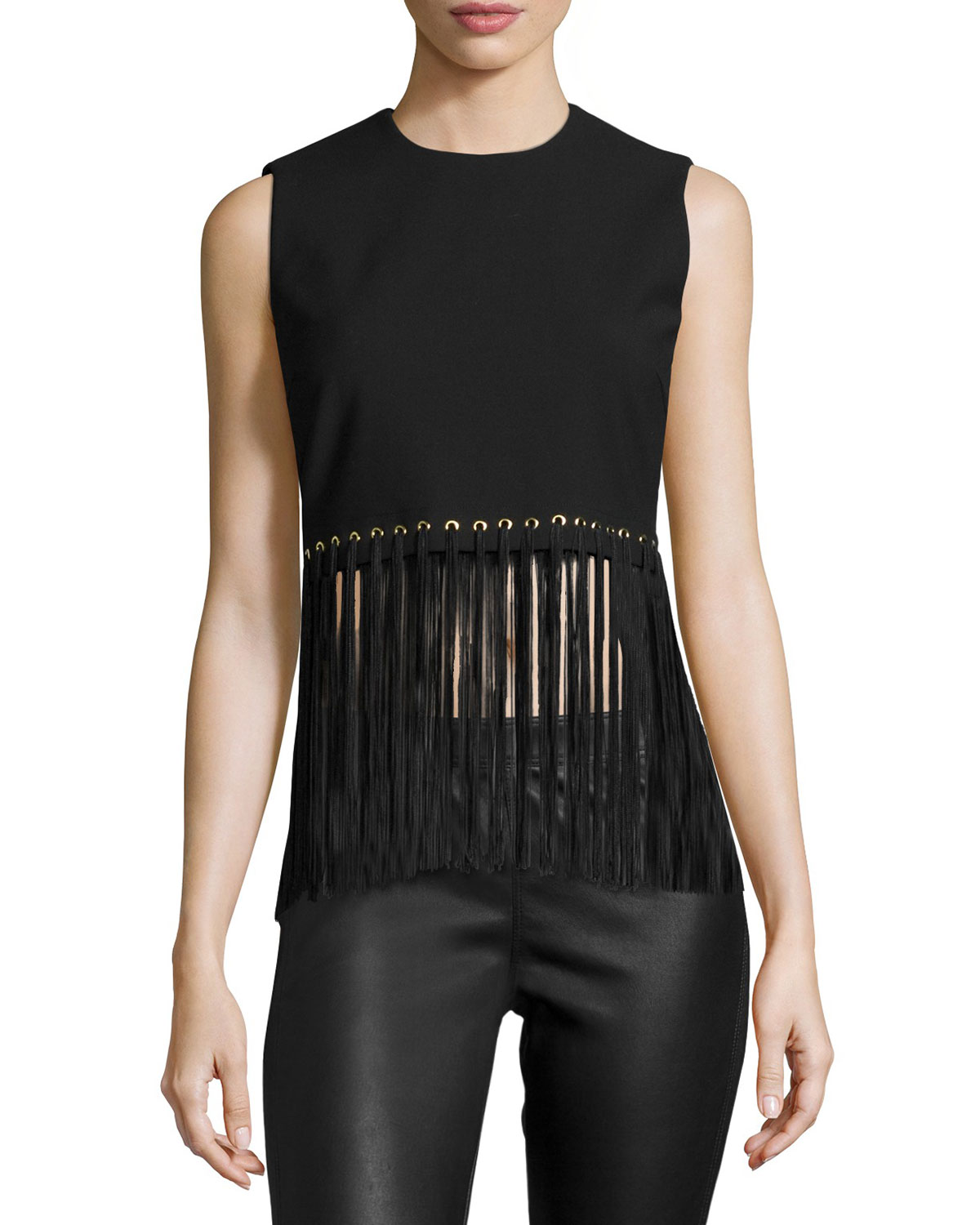 Piers Sleeveless Fringe-Hem Top, Black