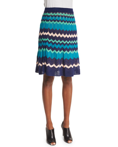 Colorblock Zigzag A-Line Skirt, Marine
