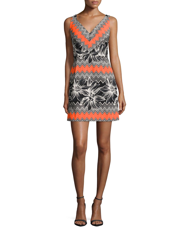 Sleeveless Tropical-Print Dress