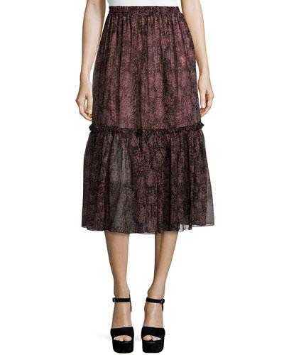 Tiered Peasant Midi Skirt, Bordeaux