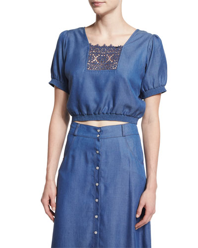 Solstiss Short-Sleeve Blouse, Blue