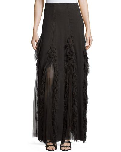 Mesh-Inset Maxi Skirt, Coal