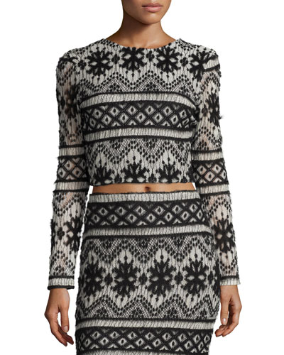 Garzata Long-Sleeve Crop Top, Black/White