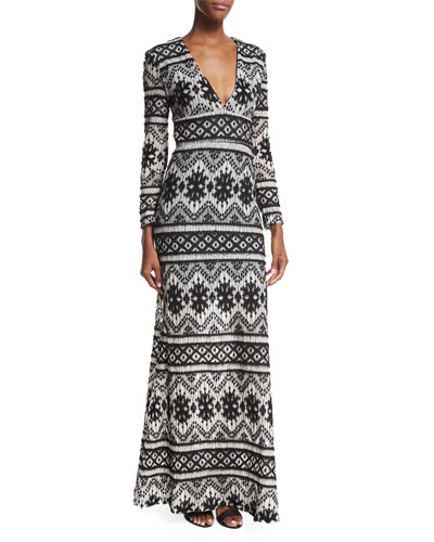 Anna Maria Long-Sleeve Printed Gown, Black/White