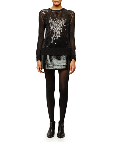 Crewneck Sequined Mesh Sweater