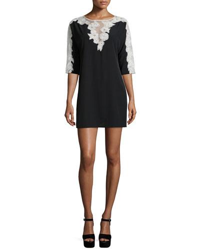 Isla Half-Sleeve Shift Dress, Black/White