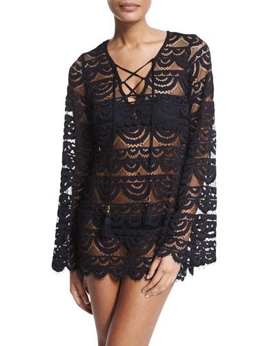 Noah Crocheted Tunic Coverup, Black/Gold