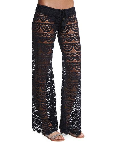 Malibu Embroidered-Lace Coverup Pants