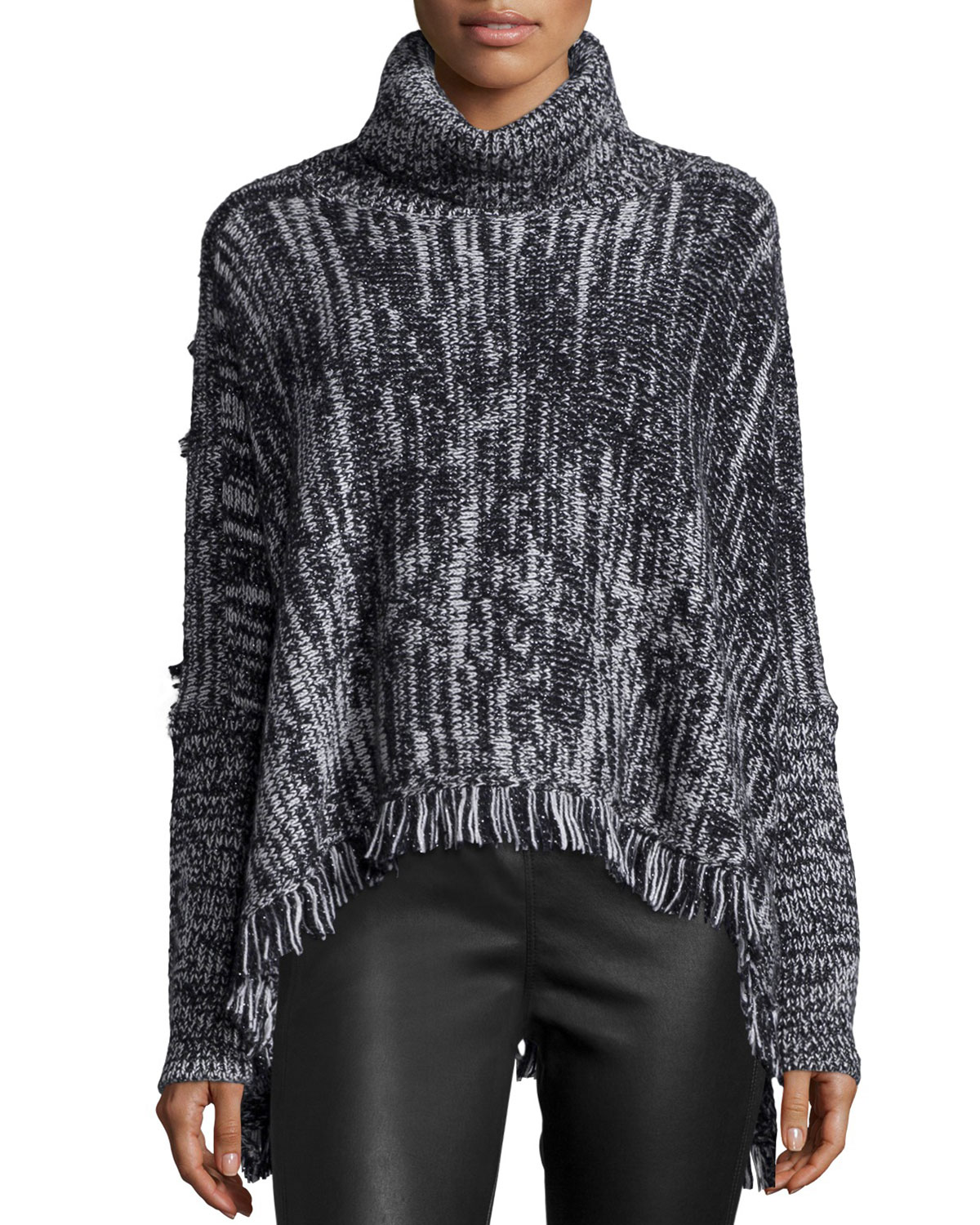 Elsa Turtleneck Fringe-Hem Sweater, Black