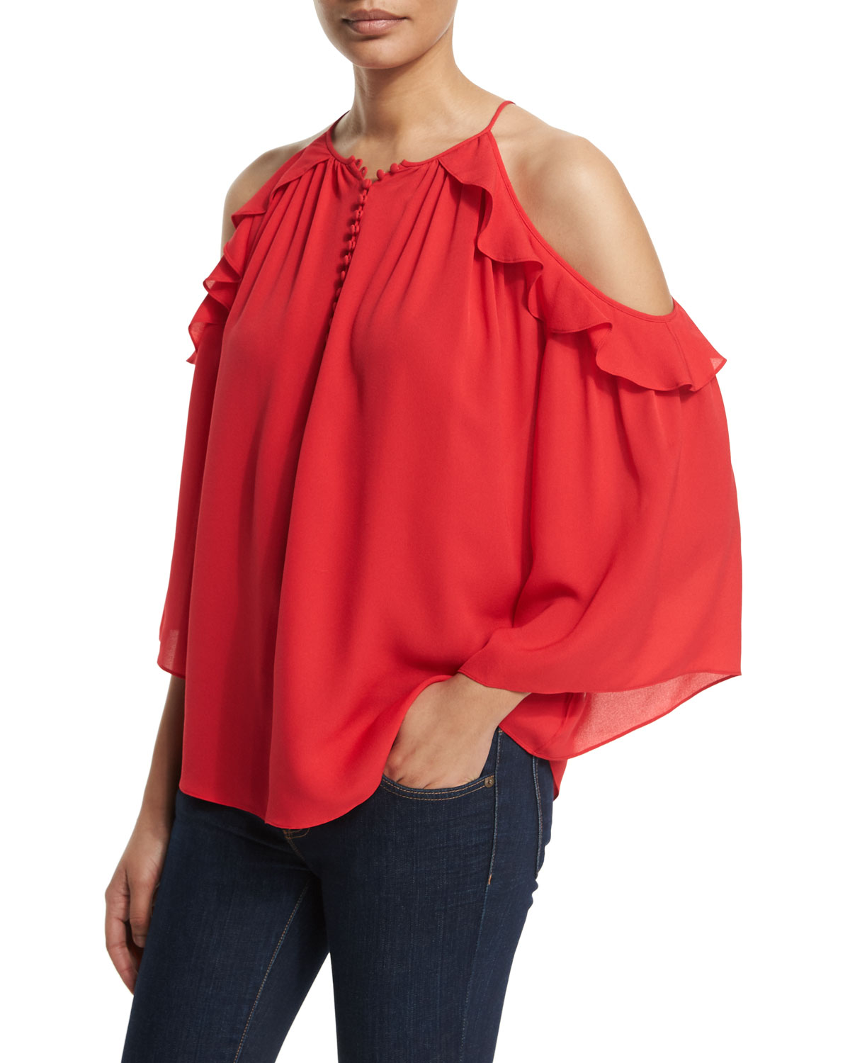 Alea Cold-Shoulder Ruffle Blouse, Pink