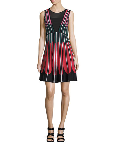 Sleeveless Petal Intarsia Dress, Black