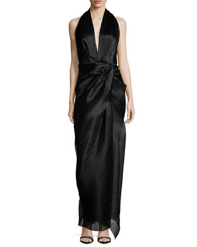 Sleeveless V-Neck Halter Gown