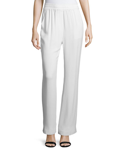 Shirred-Waist Straight-Leg Pants, Antique White