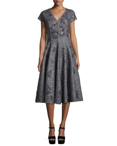 Cap-Sleeve Embellished Dress, Charcoal