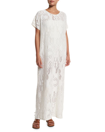 Short-Sleeve Lace Maxi Caftan Coverup