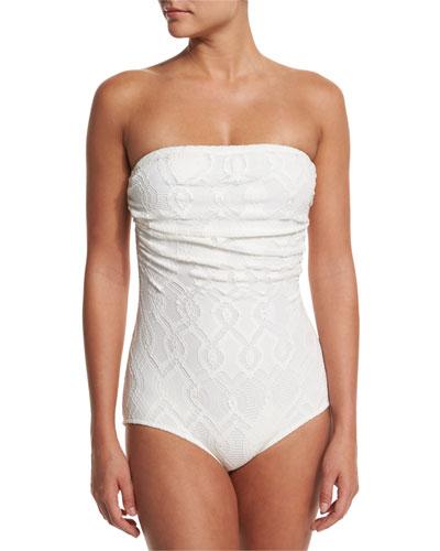 Lace Bandeau One-Piece Swimsuit