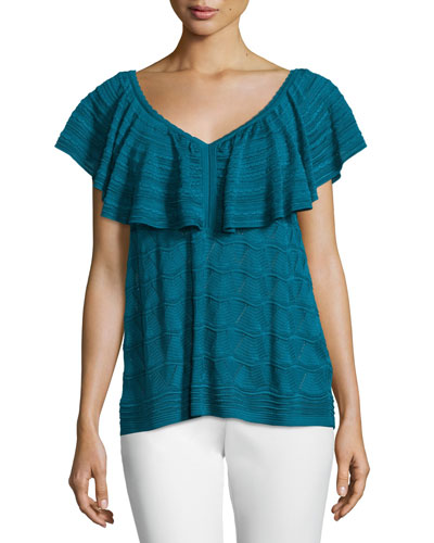Flutter-Sleeve V-Neck Top, Teal