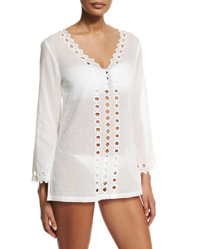 Oasis Cutout Voile Tunic Coverup