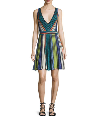 Sleeveless Vertical-Striped Dress, Black