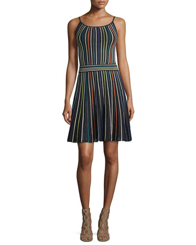 Micro-Striped Fit-&-Flare Dress, Black