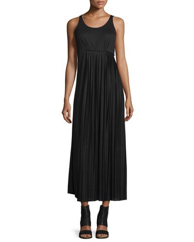 Pleated-Side Maxi Dress, Black