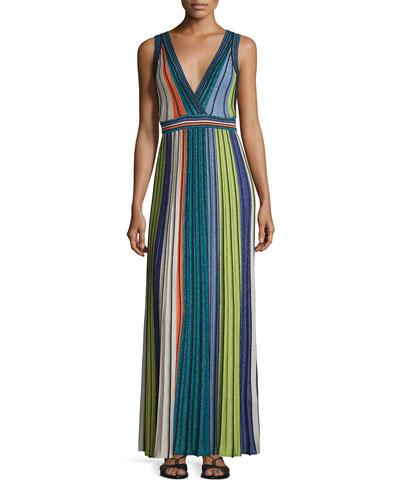 Metallic Vertical-Striped Maxi Dress