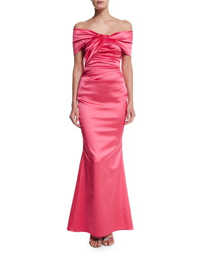 Off-The-Shoulder Pleated Gown, Shocking Pink