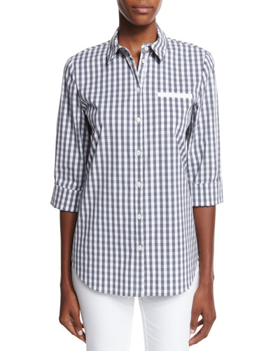 Gingham Check 3/4-Sleeve Shirt