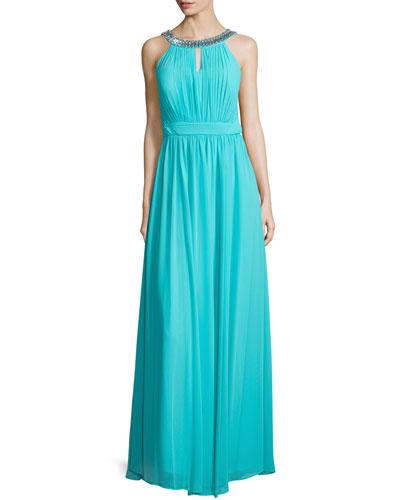Sleeveless Embellished-Neck Gown, Turquoise Breeze