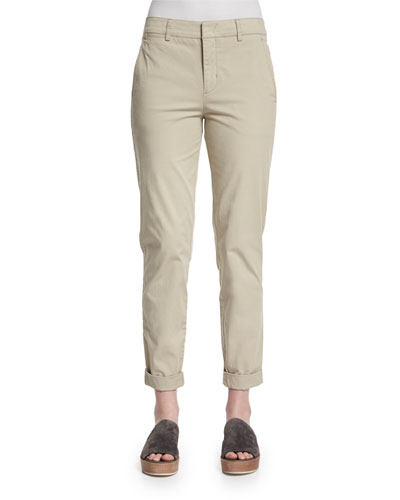 Twill Boyfriend Trousers, Light Khaki