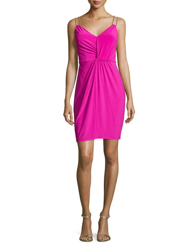 Embellished Double-Strap Sheath Dress, Shocking Pink