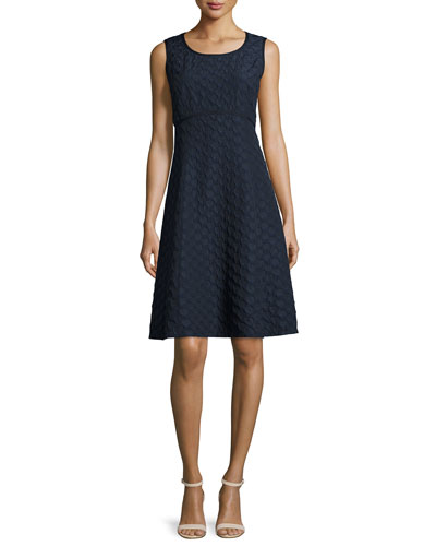 Shawn Sleeveless Jacquard Fit & Flare Dress
