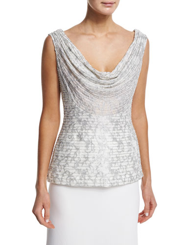 Sleeveless Cowl-Neck Embroidered Top