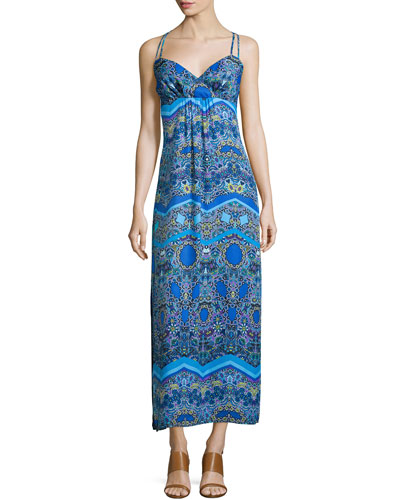 Sleeveless Printed Maxi Dress, Blue Beret/Multi