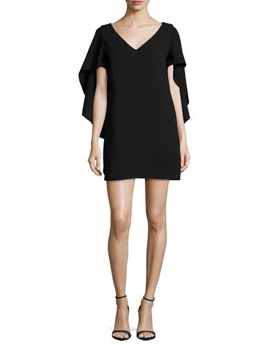 Talene Cascade-Sleeve Crepe Dress, Black