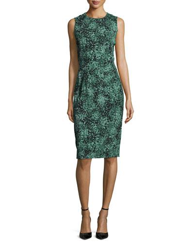Sleeveless Jewel-Neck Sheath Dress, Forest